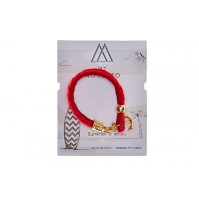 Βραχιόλι Κόκκινο με διακοσμητική Άγκυρα σε Χρώμα Χρυσό