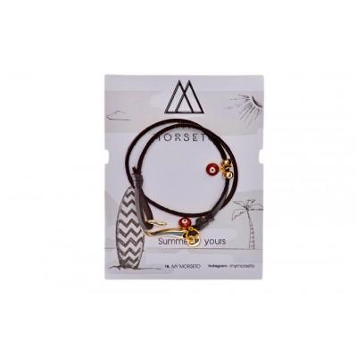 Βραχιόλι Μαύρο με αγκίστρι ασημί και διακοσμητικά κόκκινα ματάκια