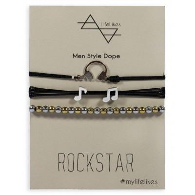 Βραχιόλι Rockstar με Μαύρο κορδόνι και διακοσμητικό μέταλλο σε Ασημί Χρώμα