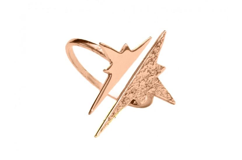 Δαχτυλίδι Αστέρι Ασήμι 925 σε Ρόζ Χρυσό χρώμα (N7)