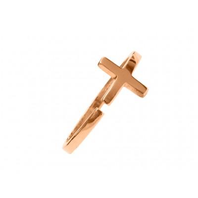 Δαχτυλίδι Σταυρός Ασήμι 925 σε Ρόζ Χρυσό χρώμα