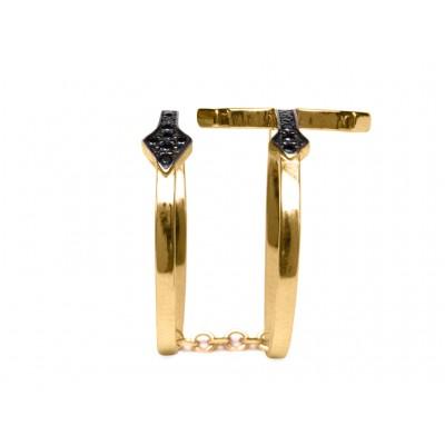 Δαχτυλίδι Σταυρός Διπλός Ασήμι 925 Μαύρο σε Χρυσό χρώμα (N7)
