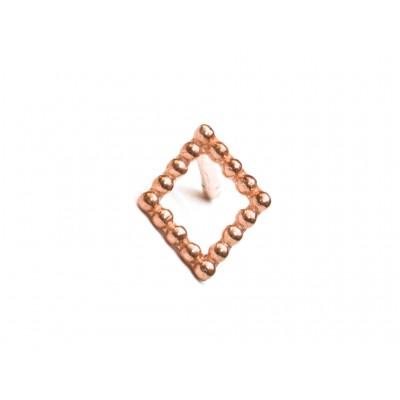 Σκουλαρίκια Ρόμβος Ασήμι 925 σε Ρόζ Χρυσό χρώμα