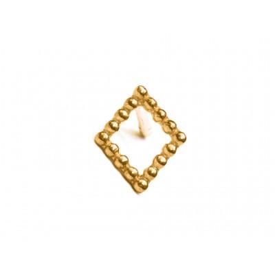 Σκουλαρίκια Ρόμβος Ασήμι 925 σε Χρυσό χρώμα