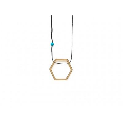 Κρεμαστό μεταλλικό Εξάγωνο σε Χρυσό χρώμα με μπλέ χάντρα