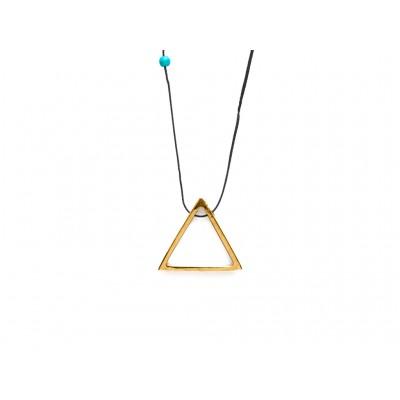 Κρεμαστό μεταλλικό Τρίγωνο σε Χρυσό χρώμα με μπλέ χάντρα
