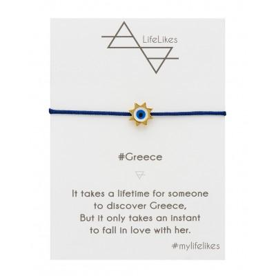 Βραχιόλι Greece με Μπλέ κορδόνι και διακοσμητικό μέταλλο σε Χρυσό Χρώμα