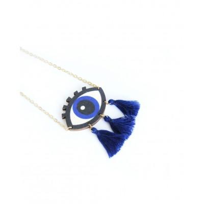 Κρεμαστό μεταλλικό Evil Eye wood necklace