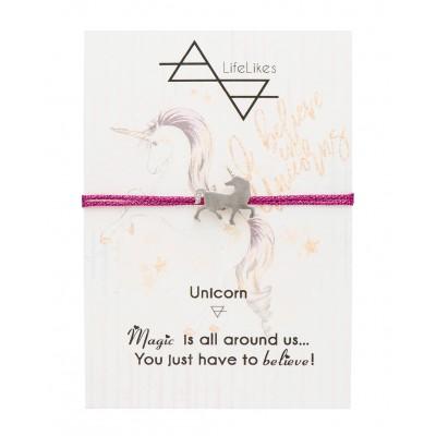 Βραχιόλι Unicorn με Φούξια χρυσοκλωστή