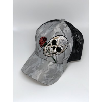 Καπέλο Jockey Army Skull Rose Grey