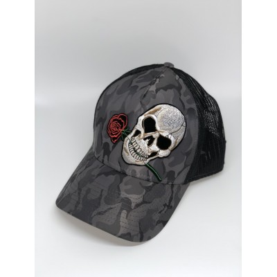 Καπέλο Jockey Army Skull Rose Dark Grey