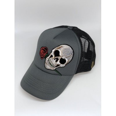 Καπέλο Jockey Skull Rose Grey Black