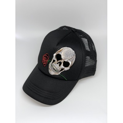 Καπέλο Jockey Skull Rose Black