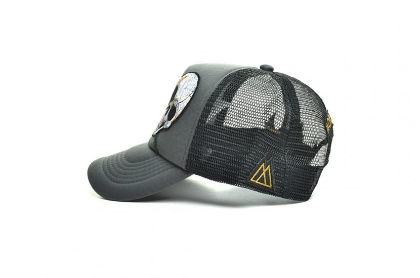 Καπέλο Jockey Skull Rose Grey Black