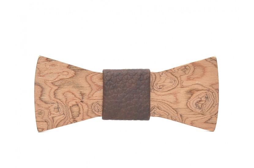 Ξύλινο Παπιγιόν Natural Epidanus -Brown Croco