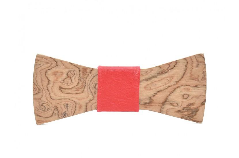 Ξύλινο Παπιγιόν Natural Epidanus -Red