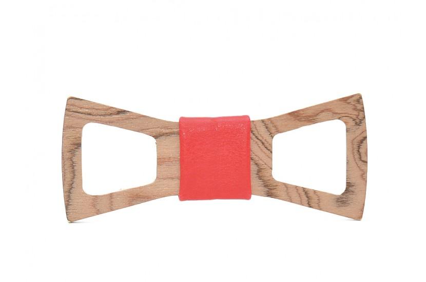 Ξύλινο Παπιγιόν Natural Scorpius -Red