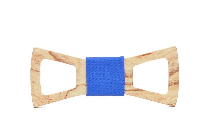 Ξύλινο Παπιγιόν Natural Draco -Light Blue