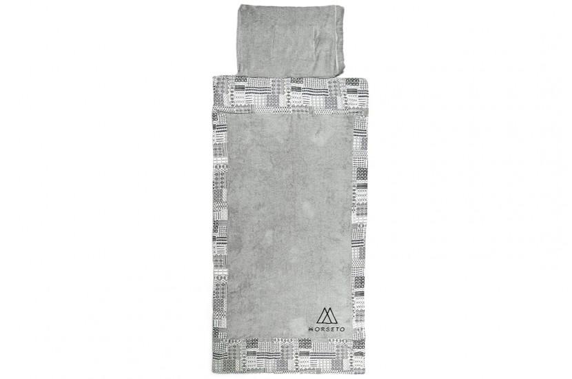 Πετσέτα Θαλάσσης MORSETO Luxury - Grey Triangle & Σάκος παραλίας 2in1