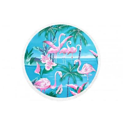 Πετσέτα Θαλάσσης Στρόγγυλη MORSETO Flamingo Τιρκουάζ Φ150