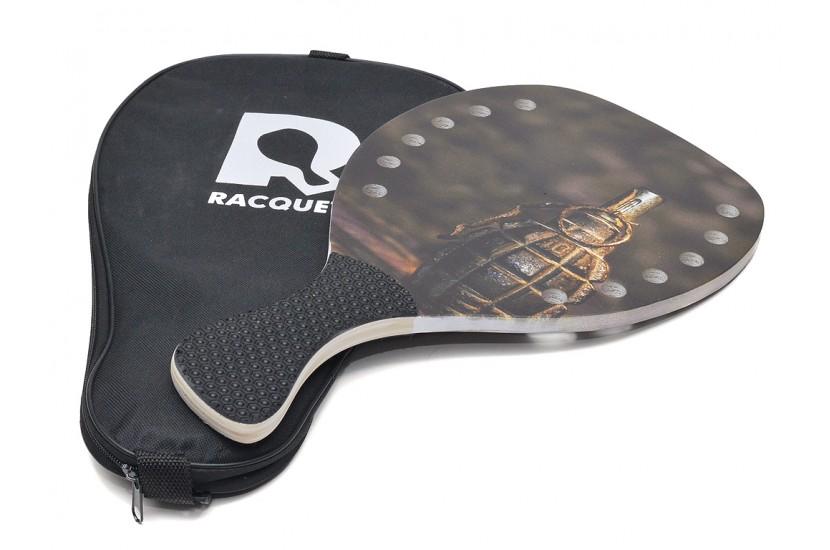 Ρακέτα Παραλίας RACQUET Grenade με Τρύπες και Μαύρη Λοξή λαβή