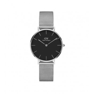 ΡΟΛΟΙ ΧΕΙΡΟΣ - DANIEL WELLINGTON Classic Petite Sterling 32mm Silver Black