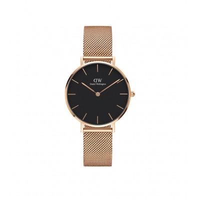 ΡΟΛΟΙ ΧΕΙΡΟΣ - DANIEL WELLINGTON Classic Petite Melrose Black 32mm Rose Gold