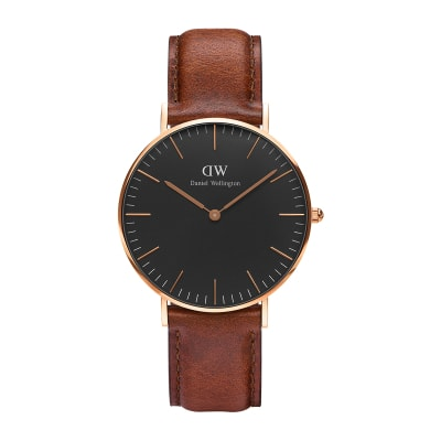 ΡΟΛΟΙ ΧΕΙΡΟΣ - DANIEL WELLINGTON Classic Black St Mawes 36mm Rose Gold