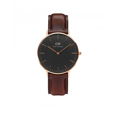 ΡΟΛΟΙ ΧΕΙΡΟΣ - DANIEL WELLINGTON Classic Black Bristol 36mm Rose Gold