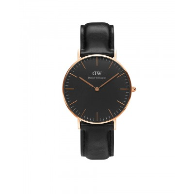 ΡΟΛΟΙ ΧΕΙΡΟΣ - DANIEL WELLINGTON Classic Black Sheffield 36mm Rose Gold