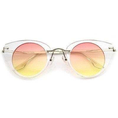 Γυαλιά Ηλίου Morseto Women' s Retro Round Cat Eye Clear Silver Orange Yellow