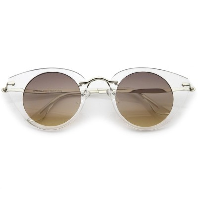 Γυαλιά Ηλίου Morseto Women' s Retro Round Cat Eye Clear Silver Smoke Gradient